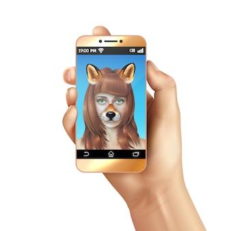 Cute dieren gezichten smartphone mobiele app samenstelling