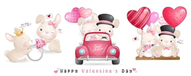 Cute doodle bunny voor valentijnsdag collectie