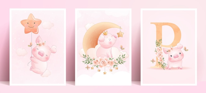 Cute doodle piggy met bloemen collectie