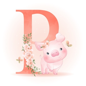 Cute doodle piggy met bloemen illustratie
