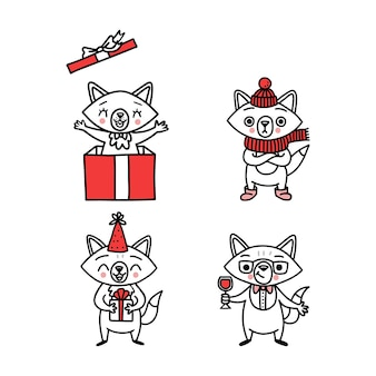 Cute doodle vector vossen, met de hand getekende set van grappige dieren.