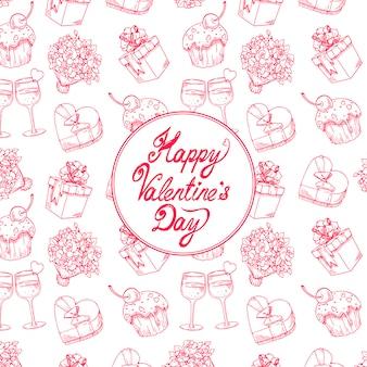 Cute feestelijke achtergrond voor valentijnsdag met een boeket rozen, champagneglazen en geschenken