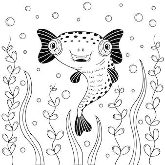 Cute fish diodon in zeewier blaast bellen. zwart-wit vectorafbeeldingen