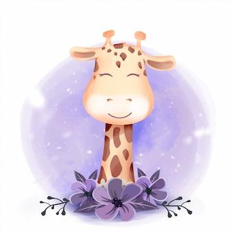 Cute giraffe portrait smile met bloemen