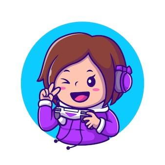 Cute girl gaming holding joystick met hand vrede cartoon pictogram illustratie. mensen technologie pictogram concept geïsoleerd. flat cartoon stijl