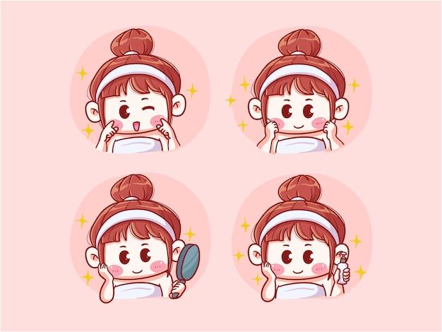 Cute girl illustratie doen huidverzorging routine