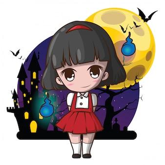 Cute hanako san., hanako san is de goddelijkheid van het huishouden in de japanse volksgodsdienst. japanse geest.