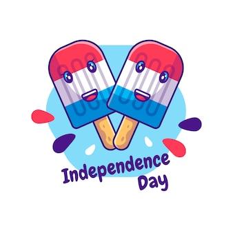 Cute ice cream caracter voor de dag van de onafhankelijkheid van de vs cartoon. onafhankelijkheidsdag van de vs