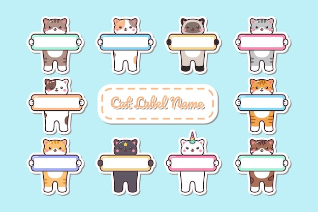 Cute kawaii cat hold label naamplaatje