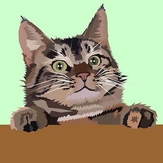 Cute kitten pop art vector