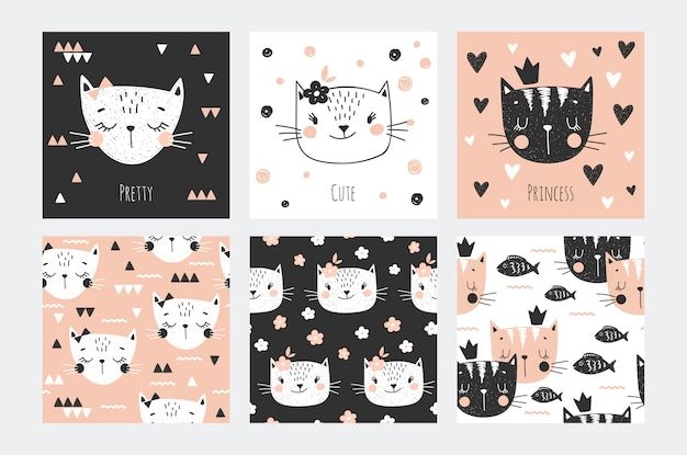 Cute kitty gezichten karakter collectie kaart en naadloos patroon voor meisjes. driekleur