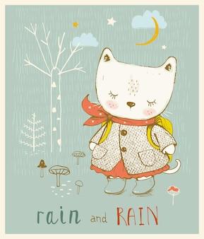 Cute kitty in the forest hand getekende vectorillustratie kan worden gebruikt voor tshirt print kids wear