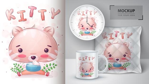 Cute kitty poster en merchandising vector eps 10