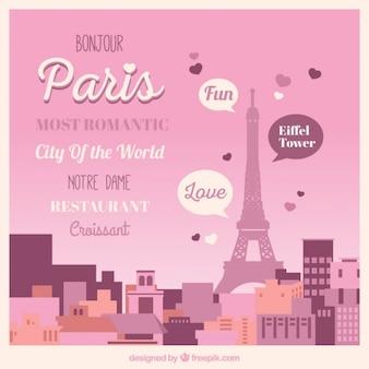 Cute landschap van parijs met belettering