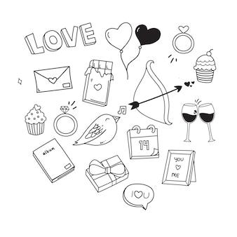 Cute love doodle set voor valentine