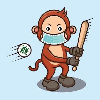 Cute monkey hit virus met honkbalstick-ontwerp