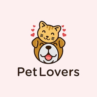 Cute pet lovers cat and dog logo design