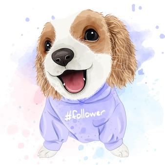 Cute puppy aquarel voor afdrukken