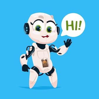 Cute robot girl zeggen hallo geïsoleerde pictogram op blauwe achtergrond moderne technologie kunstmatige intelligentie