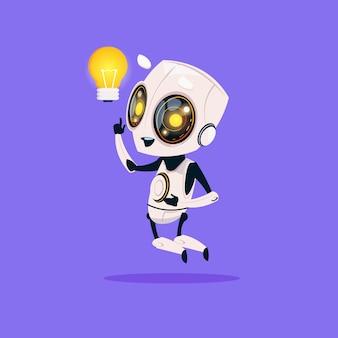 Cute robot hold light bulb geïsoleerd pictogram op blauwe achtergrond moderne technologie kunstmatige intelligentie