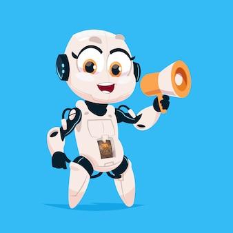 Cute robot hold megaphone robotachtig meisje geïsoleerd pictogram op blauwe achtergrond moderne technologie kunstmatige intelligentie