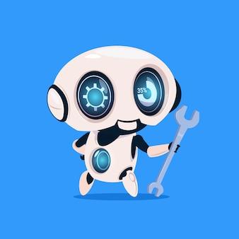 Cute robot hold wrench geïsoleerde pictogram op blauwe achtergrond moderne technologie kunstmatige intelligentie