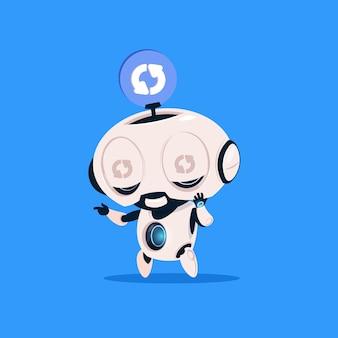 Cute robot updaten software geïsoleerd pictogram op blauwe achtergrond moderne technologie kunstmatige intelligentie
