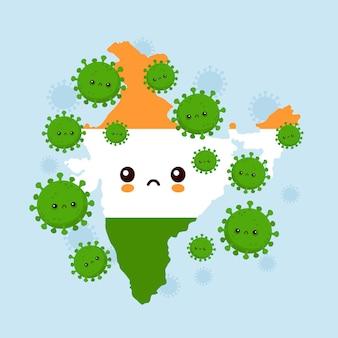 Cute sad india aangevallen coronavirus-infectie. vlakke stijl cartoon karakter illustratie