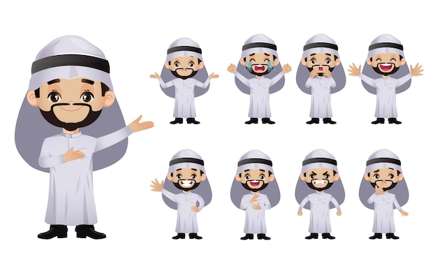 Cute set - set van arabische zakenmensen met verschillende emoties