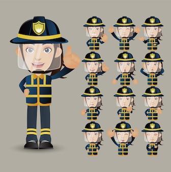 Cute set - set van brandweerman met verschillende emoties
