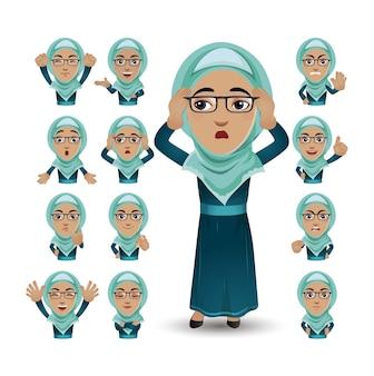 Cute set - set van moslimmensen met verschillende emoties