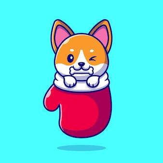 Cute shiba inu dog bite bone in glove cartoon illustration. dierlijke aard concept geïsoleerd. platte cartoon stijl
