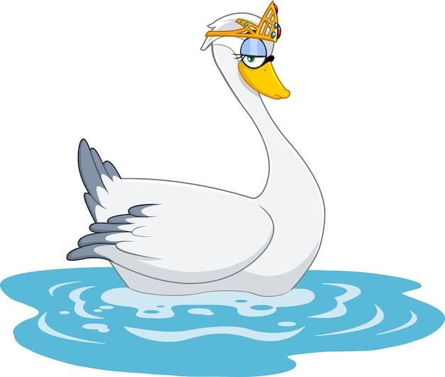 Cute swan princess karakter met gouden kroon.