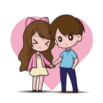 Cute two lovers, cartoon illustration.