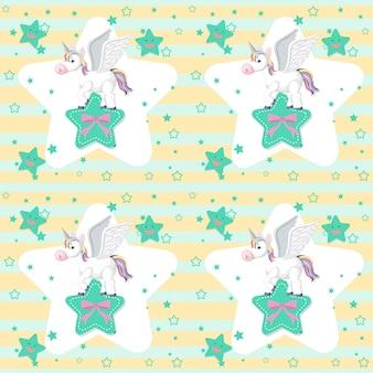 Cute unicorn on star seamless