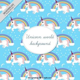 Cute unicorn wereld achtergrond