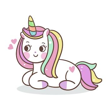 Cute unicorn zit op de vloer