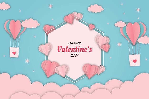 Cute valentine luchtschip met blauwe hemelachtergrond