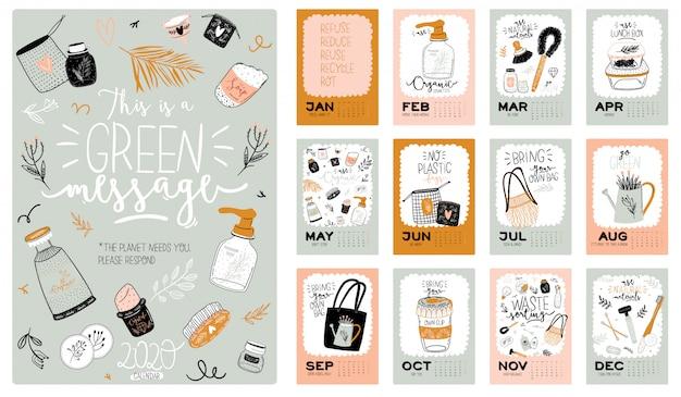 Cute zero waste 2021 kalender. jaarlijkse planner kalender met alle maanden. goede organisator en planning.