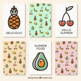 Cute zomer kaarten van fruit
