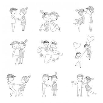 Cutte paar liefde set