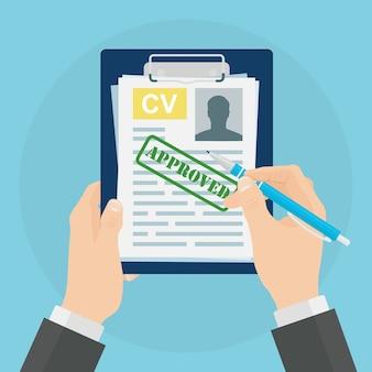 Cv-bedrijf hervat in de hand op de achtergrond. sollicitatiegesprek, werving, zoek werkgever concept.