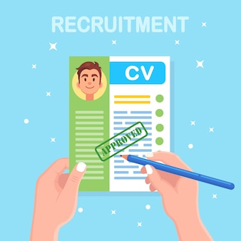 Cv-bedrijf hervat in de hand. sollicitatiegesprek, werving, zoek werkgever concept