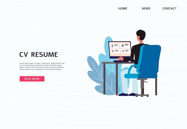 Cv cv website banner met cartoon man op zoek naar sollicitanten