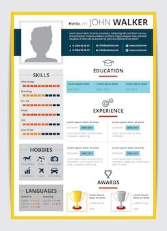 Cv-sjabloon met mannelijke kandidaat-onderwijs jobervaring awards en andere informatie hervatten platte vectorillustratie
