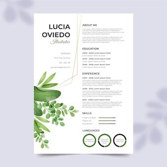 Cv-template met florale versieringen
