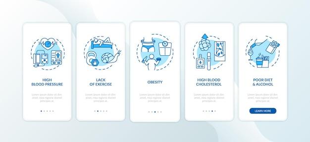Cvd veroorzaakt het onboarding-paginascherm van de mobiele app met concepten. gebrek aan lichaamsbeweging, zwaarlijvigheid ongezonde gewoonten walkthrough 5 stappen grafische instructies. ui-vectorsjabloon met rgb-kleurenillustraties