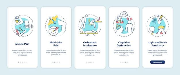Cvs-symptomen onboarding mobiele app-paginascherm met concepten