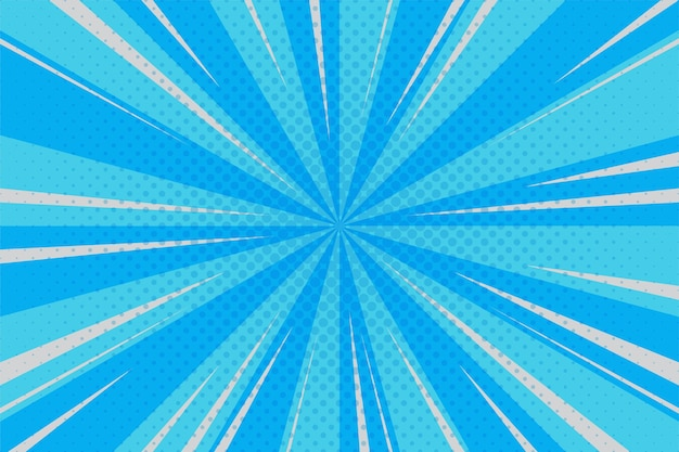 Cyaan, blauwe stralen spiraal sunburst achtergrond in komische stijl