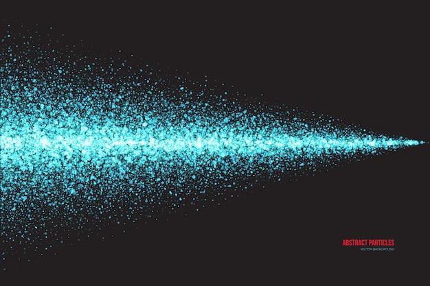 Cyaan shimmer gloeiende deeltjes spray abstracte achtergrond